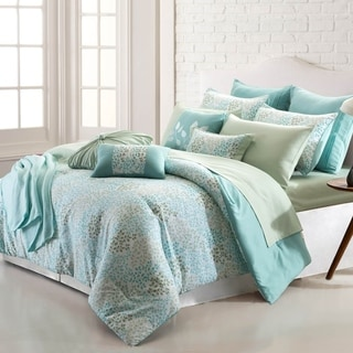Amrapur Overseas April Leaves 16-Piece Printed Reversible Comforter Set