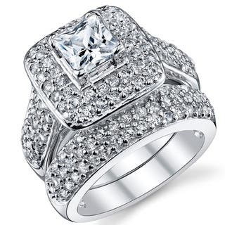 Oliveti Sterling Silver Princess Cut Engagement Ring Bridal Set with Cubic Zirconia - Clear|https://ak1.ostkcdn.com/images/products/17698256/P23904692.jpg?impolicy=medium