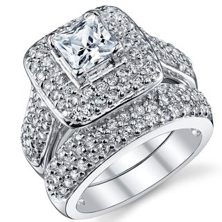 Oliveti Sterling Silver Princess Cut Engagement Ring Bridal Set with Cubic Zirconia - Clear (More options available)