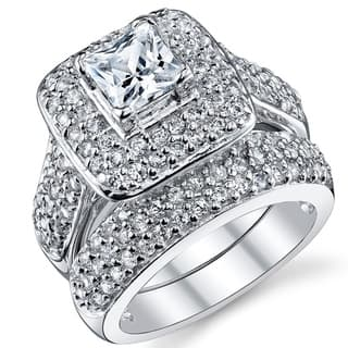 oliveti sterling silver princess cut engagement ring bridal set with cubic zirconia clear - Cubic Zirconia Wedding Rings