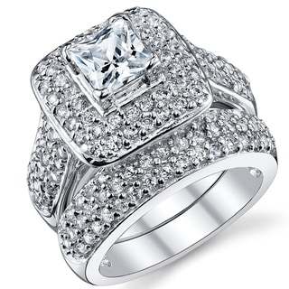 Oliveti Sterling Silver Princess Cut Engagement Ring Bridal Set With Cubic  Zirconia   Clear (More