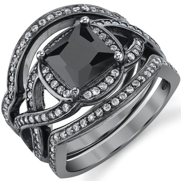 Oliveti Black Rhodium Sterling Silver Engagement Ring Bands, Bridal set Black Princess Cubic Zirconia