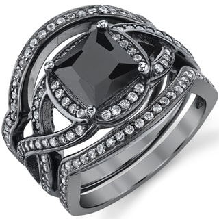 Oliveti Black Rhodium Sterling Silver Engagement Ring Bands, Bridal set Black Princess Cubic Zirconia