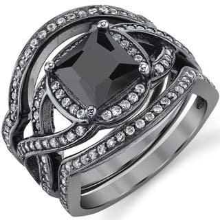 oliveti black rhodium sterling silver engagement ring bands bridal set black princess cubic zirconia - Black And Silver Wedding Rings