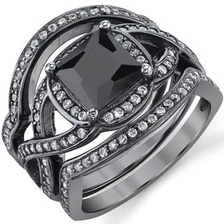 Oliveti Black Rhodium Sterling Silver Engagement Ring Bands, Bridal Set  Black Princess Cubic Zirconia (