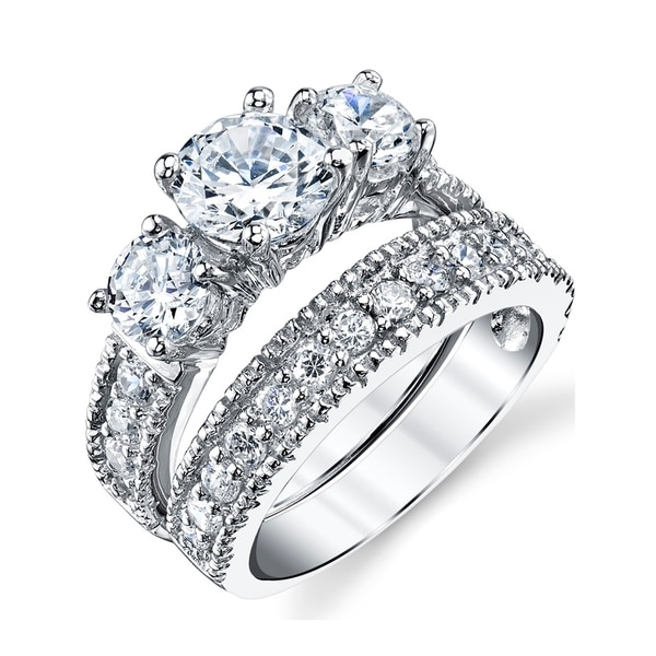 Oliveti Womenu0026#x27;s Sterling Silver Bridal Set Engagement Wedding Ring Band  Cubic Zirconia