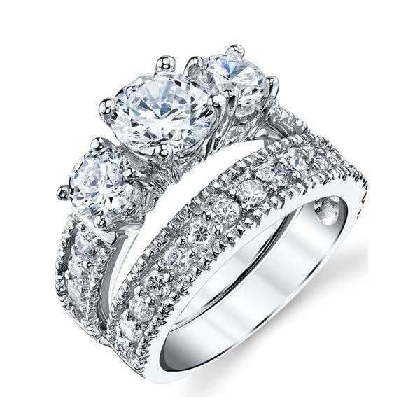 Shop Oliveti Women S Sterling Silver Bridal Set Engagement Wedding