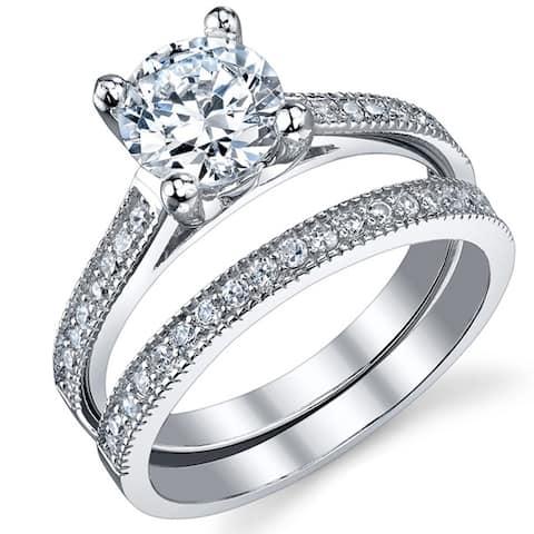 Oliveti Women's Sterling Silver Bridal Set Engagement Wedding Ring Band Cubic Zirconia