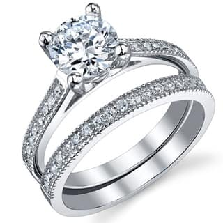 Oliveti Women's Sterling Silver Bridal Set Engagement Wedding Ring Band Cubic Zirconia - Clear