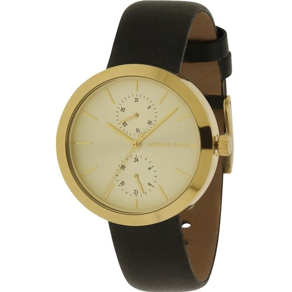 09ac61e202c3 Shop Michael Kors Garner Leather Ladies Watch - Free Shipping Today -  Overstock - 17698277