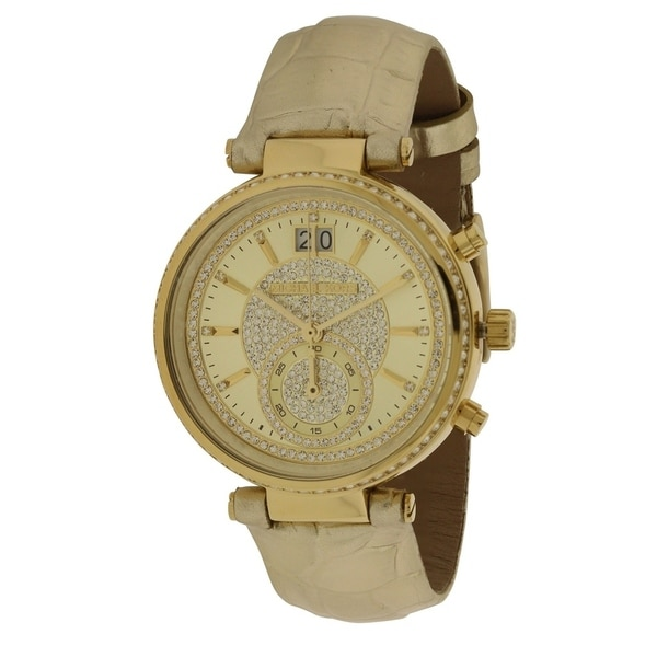 14a4821d4694c Shop Michael Kors Sawyer Gold-Tone Ladies Watch - Free Shipping Today -  Overstock - 17698286