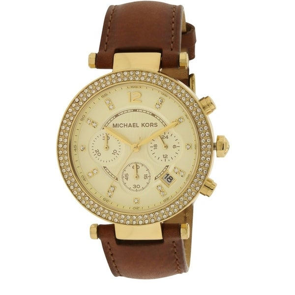 1066696643c7 Shop Michael Kors Parker Chocolate Leather Chronograph Ladies Watch MK2249  - Free Shipping Today - Overstock - 17698288