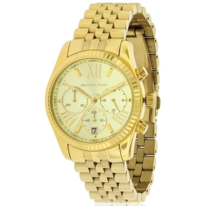 Michael Kors Chronograph Lexington Gold-Tone Ladies Watch...