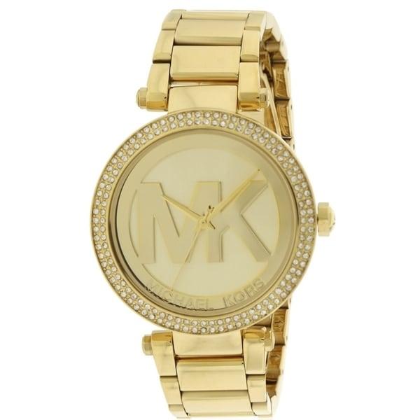 82a833da0a96 Shop Michael Kors Parker Logo Glitz Gold-Tone Ladies Watch MK5784 - Free  Shipping Today - Overstock - 17698306