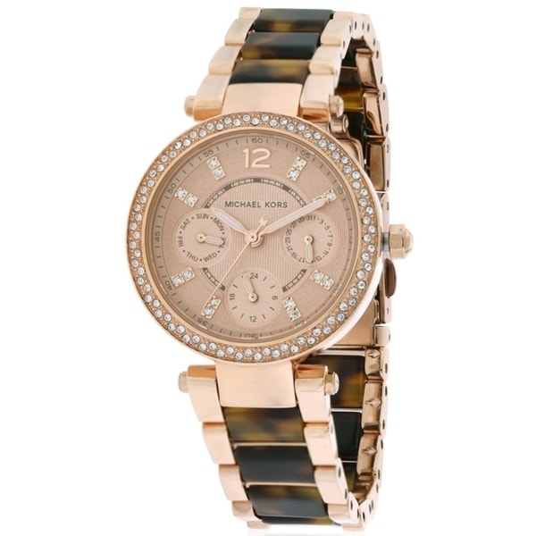 3b9633d3e4d9 Shop Michael Kors Mini Parker Tortoise Acetate and Rose Gold-Tone Ladies  Watch MK5841 - Free Shipping Today - Overstock - 17698310