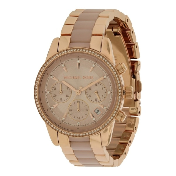 05bfc9cf5366 Shop Michael Kors Ritz Rose Gold-Tone Chronograph Ladies Watch ...