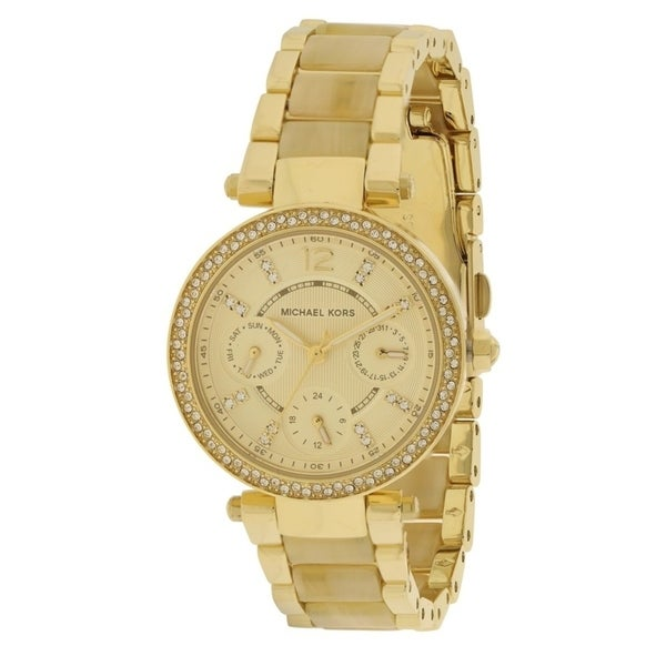 3ac1c2708f41 Shop Michael Kors Mini Parker Crystal Bezel Ladies Watch - Free Shipping  Today - Overstock - 17698349