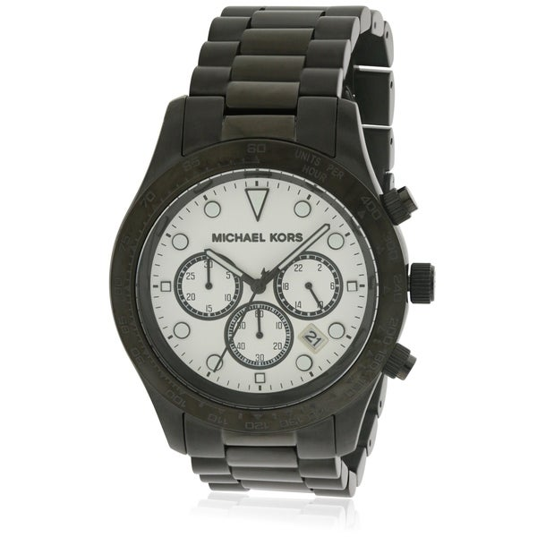 e2809d322701 Shop Michael Kors Layton Black Stainless Steel Chronograph Ladies Watch  MK6083 - Free Shipping Today - Overstock - 17698382
