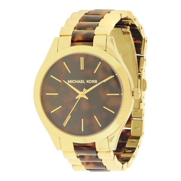 256600be5286 Shop Michael Kors Slim Runway Tortoise   Gold-Tone Ladies Watch MK4284 -  Free Shipping Today - Overstock - 17698390