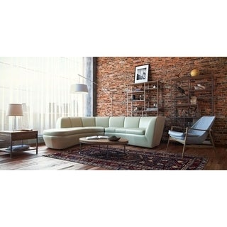 Crescenta Cream Full Top Grain Leather 2 Piece Contemporary Sectional