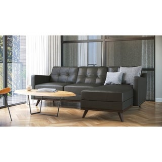 Monika Full Leather Mid-Century Sectional 2pc