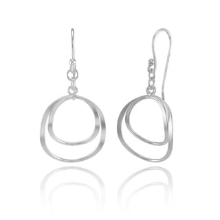 Mondevio Sterling Silver Double Circle Swirl Lightweight Dangle Drop Earrings