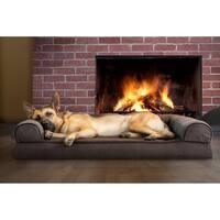FurHaven Faux Fleece & Chenille Soft Woven Memory Top Sofa Pet Bed