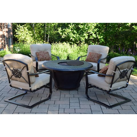 "Round 48x24"" Cast Aluminum Firepit Table Set with Burner System, Cover, Four Cushioned Aluminum Spring Chairs and Throw Pillows"