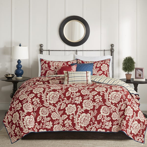 Copper Grove Tetagouche Red 6-piece Cotton Twill Reversible Coverlet Set