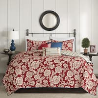 Gracewood Hollow Babstock Red 6-piece Cotton Twill Reversible Coverlet Set