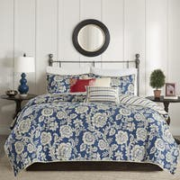 Madison Park Georgia Navy 6 Pieces Cotton Twill Reversible Coverlet Set
