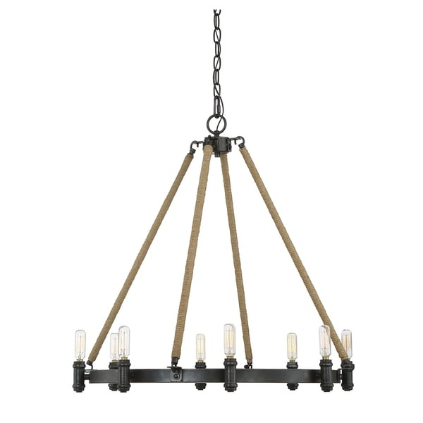 Piccardy 8 Light Chandelier Rustic Black w/ Rope