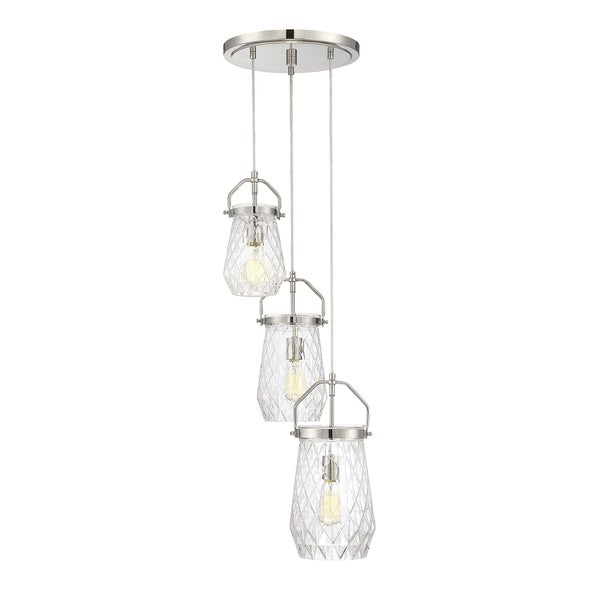 St. Clare 3 Light Multi Point Chandelier Polished Nickel