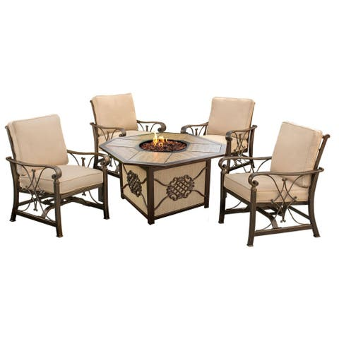 """43x24"""" Porcelain/Aluminum Gas Firepit Table with Burner System, Rocks and Four Acrylic Cushioned Aluminum Spring Rocking Chairs"""