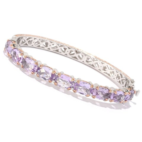 Michael Valitutti Palladium Silver Pink Amethyst Hinged Bangle Bracelet
