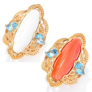 Michael Valitutti Palladium Silver Etruscan Collection Oval Bamboo Coral & Swiss Blue Topaz Ring