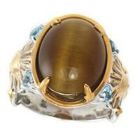 Michael Valitutti Palladium Silver Cleopatra Cat's Eye & Swiss Blue Topaz Pharaoh Ring