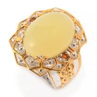 Michael Valitutti Palladium Silver Yellow Opal & Madeira Citrine Geometric Ring