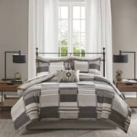 Madison Park Essentials Ontario Grey Printed Complete Bed and Sheet Set