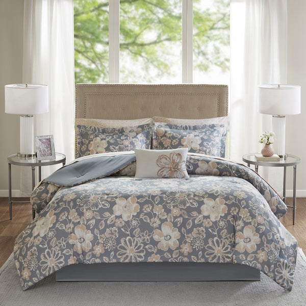 Madison Park Essentials Roxanne Grey Floral Printed Complete Comforter and Cotton Sheet Set