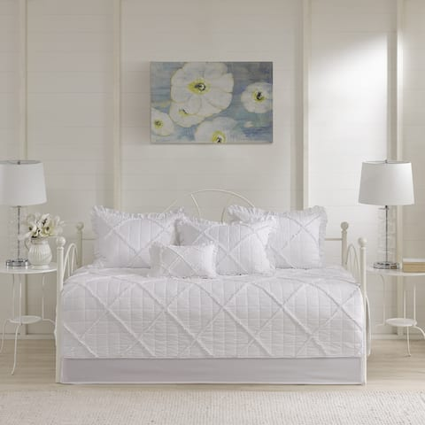 Madison Park Wendy White 6 Pieces Quilted Daybed Cover Set with Ruffle/ Pleating Details
