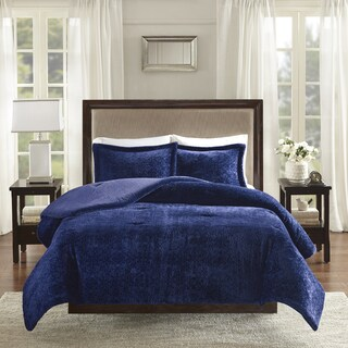 Madison Park Lillian Navy Burnout Medallion Plush Comforter Set
