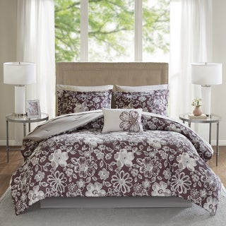 Madison Park Essentials Roxanne Plum Floral Printed Complete Comforter and Cotton Sheet Set
