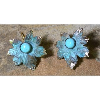 Handmade Verdigris Patina Solid Brass Maple Leaf Earrings with Turquoise by Elaine Coyne (USA)|https://ak1.ostkcdn.com/images/products/17699064/P23905424.jpg?impolicy=medium