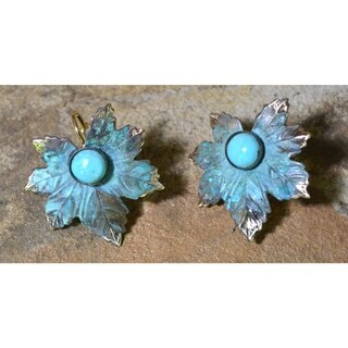 Handmade Verdigris Patina Solid Brass Maple Leaf Earrings with Turquoise by Elaine Coyne (USA)