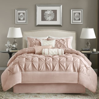 Madison Park Vivian Blush Pieced Pleated 7-piece Comforter Set