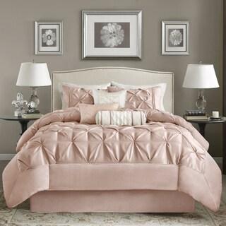 Madison Park Vivian Blush Pieced Pleated 7 Pieces Comforter Set