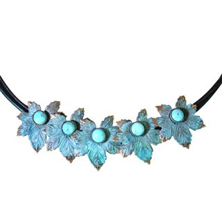 Handmade Verdigris Patina Solid Brass Maple Leaf Necklace on Rawhide with Turquoise by Elaine Coyne (USA)