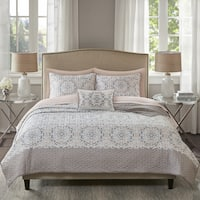 Madison Park Essentials Nima Blush Printed Complete Coverlet and Cotton Sheet Set