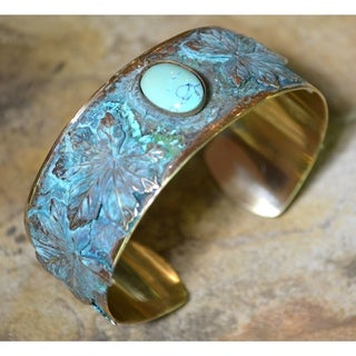 Handmade Verdigris Patina Solid Brass Maple Leaf Cuff with Turquoise by Elaine Coyne (USA)